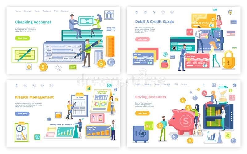Tarjeta del debe y de crédito, gestión y organización ilustración del vector