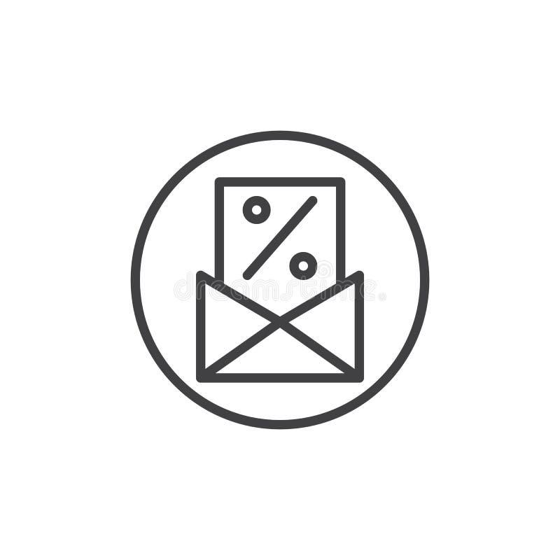 Tarjeta del descuento del por ciento en la línea icono del sobre ilustración del vector