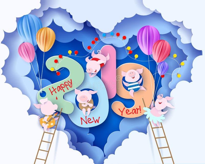 Tarjeta del diseño de la Feliz Año Nuevo 2019 con los cerdos libre illustration