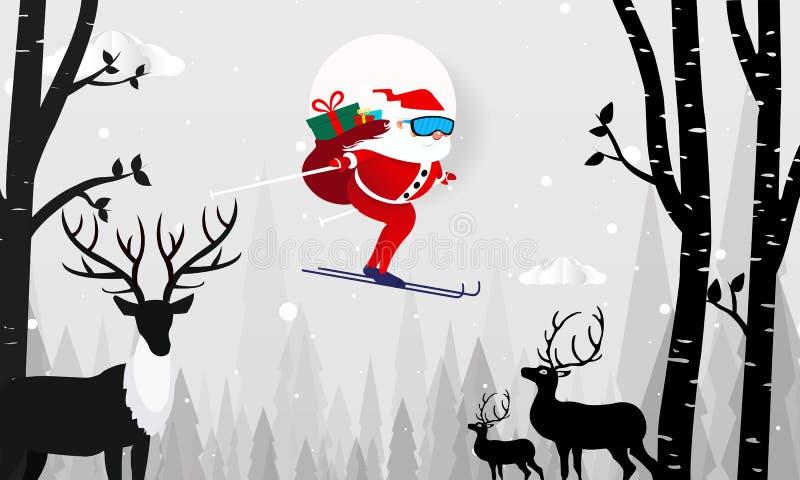 Tarjeta del diseño de la Feliz Navidad con el vuelo de Santa Claus sobre fondo de las colinas de la nieve Ciervos de papel del ej stock de ilustración