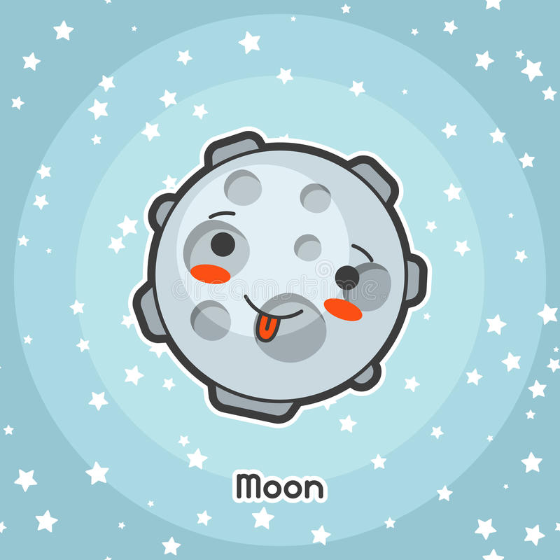 Tarjeta del espacio de Kawaii Garabato con la expresión bastante facial Ejemplo de la luna de la historieta en cielo estrellado libre illustration