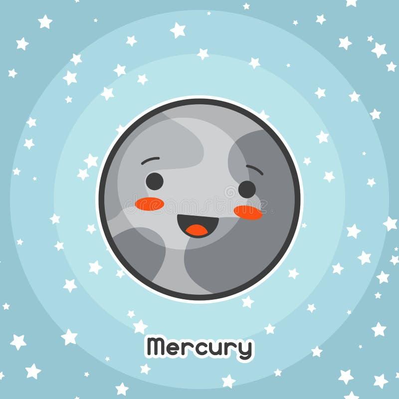 Tarjeta del espacio de Kawaii Garabato con la expresión bastante facial Ejemplo del mercurio de la historieta en cielo estrellado libre illustration