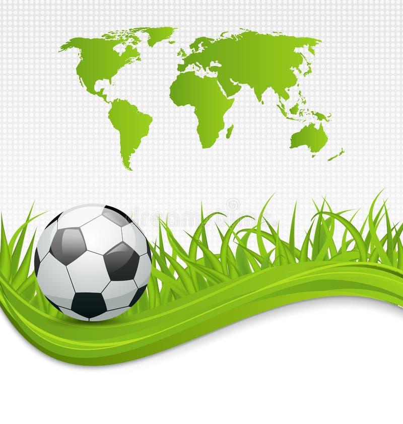 Tarjeta del fútbol con la bola para el Brasil 2014 stock de ilustración