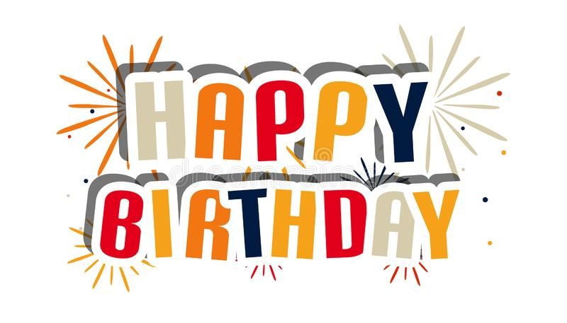 Tarjeta del feliz cumpleaños, cartel con los fuegos artificiales - ejemplo colorido del vector - aislados en el fondo blanco ilustración del vector