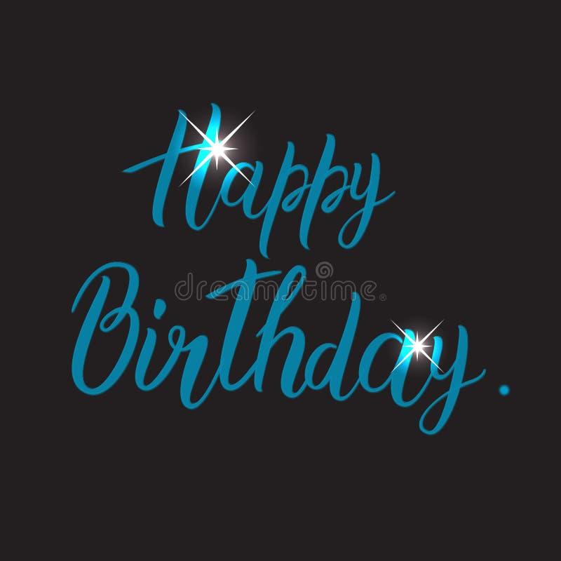 Tarjeta del feliz cumpleaños con caligrafía hecha a mano de las letras libre illustration
