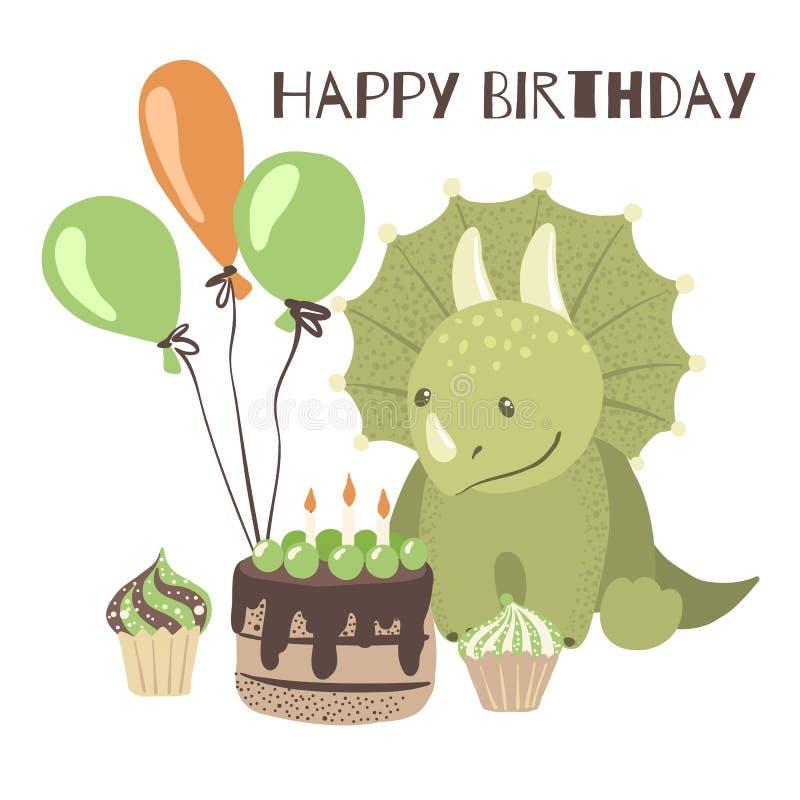 Tarjeta del feliz cumpleaños con el dinosaurio lindo de la historieta libre illustration