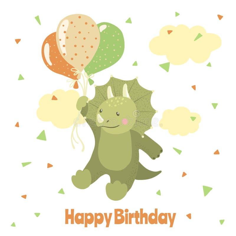 Tarjeta del feliz cumpleaños con el dinosaurio lindo de la historieta ilustración del vector