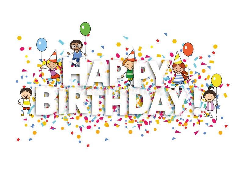 Tarjeta del feliz cumpleaños con el ejemplo del confeti y de los niños stock de ilustración