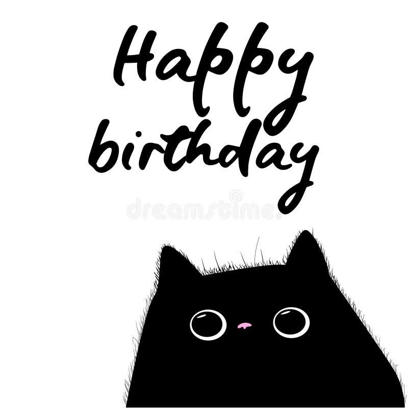 Tarjeta del feliz cumpleaños con el gato negro stock de ilustración