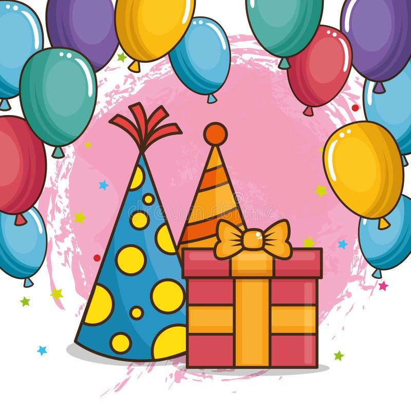 Tarjeta del feliz cumpleaños con el giftbox y los sombreros ilustración del vector