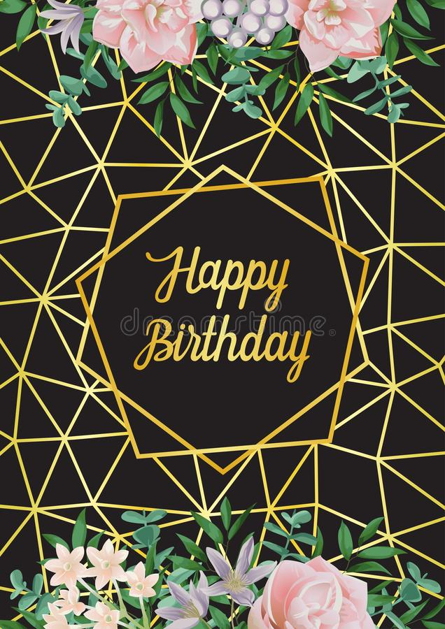Tarjeta del feliz cumpleaños con el marco, las flores y el verdor geométricos stock de ilustración