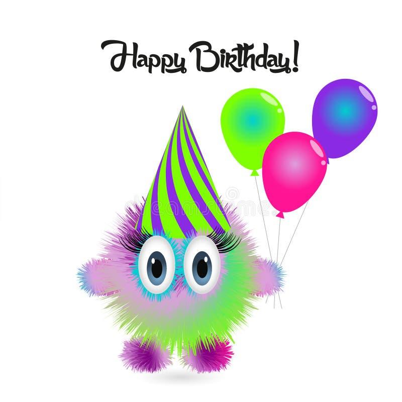 Tarjeta del feliz cumpleaños con el monstruo colorido de la historieta divertida stock de ilustración