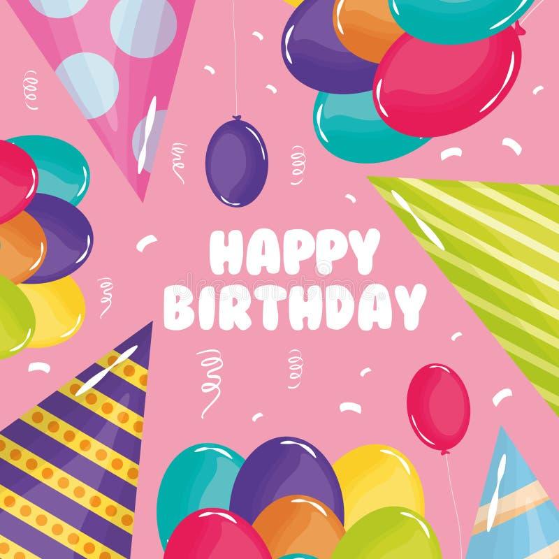 Tarjeta del feliz cumpleaños con helio de los sombreros y de los globos del partido stock de ilustración
