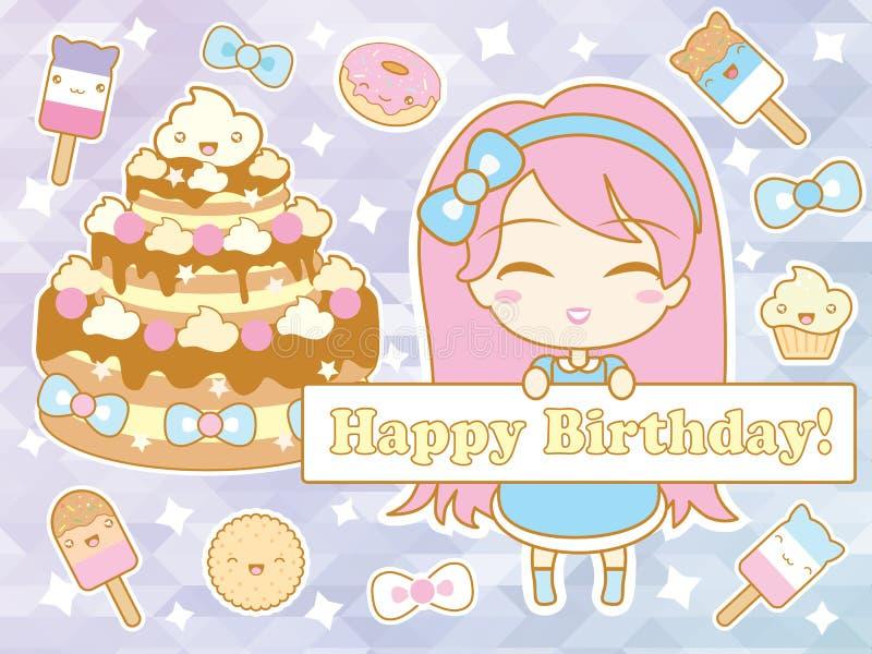 Tarjeta del feliz cumpleaños con la muchacha sonriente linda del chibi de la historieta ilustración del vector