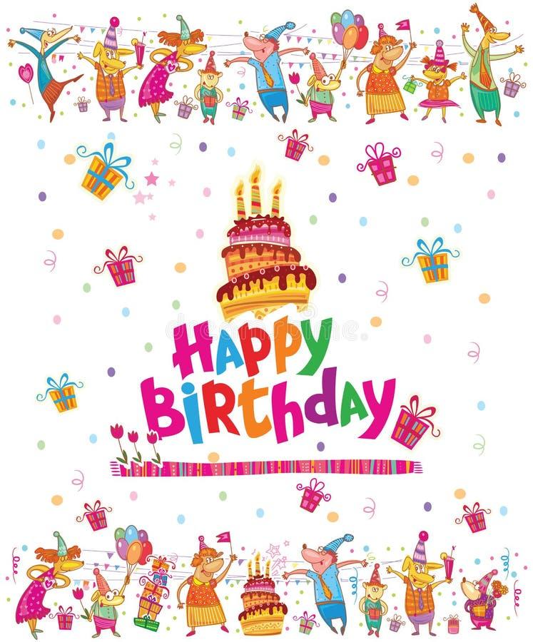 Tarjeta del feliz cumpleaños con la torta libre illustration