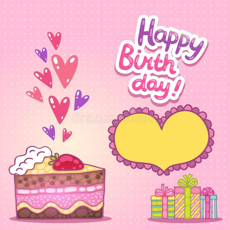 Tarjeta del feliz cumpleaños con la torta de la fresa stock de ilustración