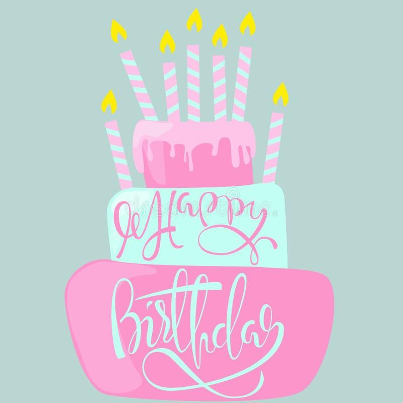 Tarjeta del feliz cumpleaños con la torta y las velas Ilustración del vector ilustración del vector