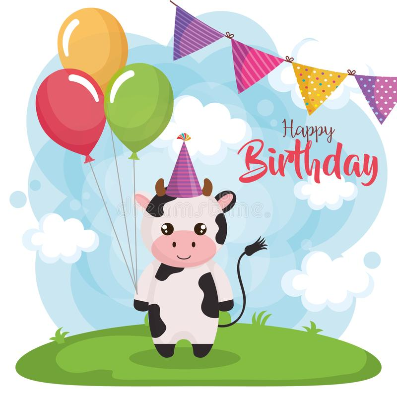 Tarjeta del feliz cumpleaños con la vaca ilustración del vector
