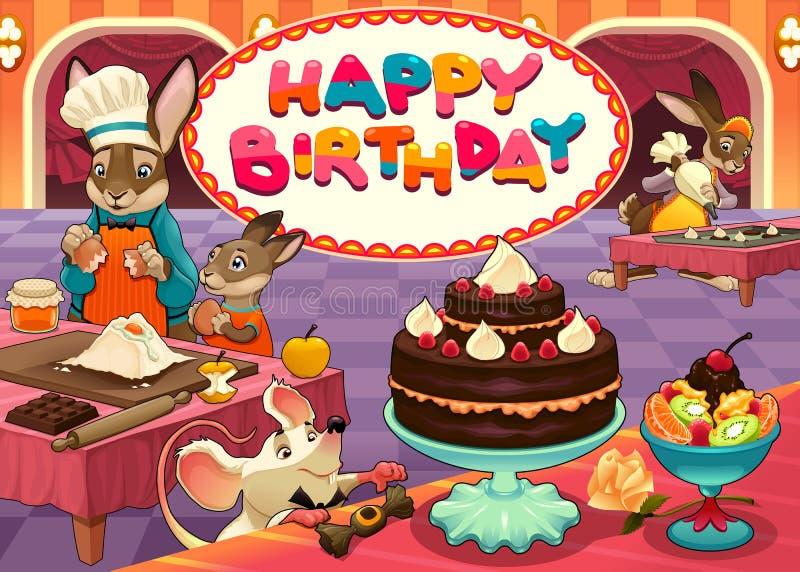Tarjeta del feliz cumpleaños con los animales divertidos del chef de repostería libre illustration