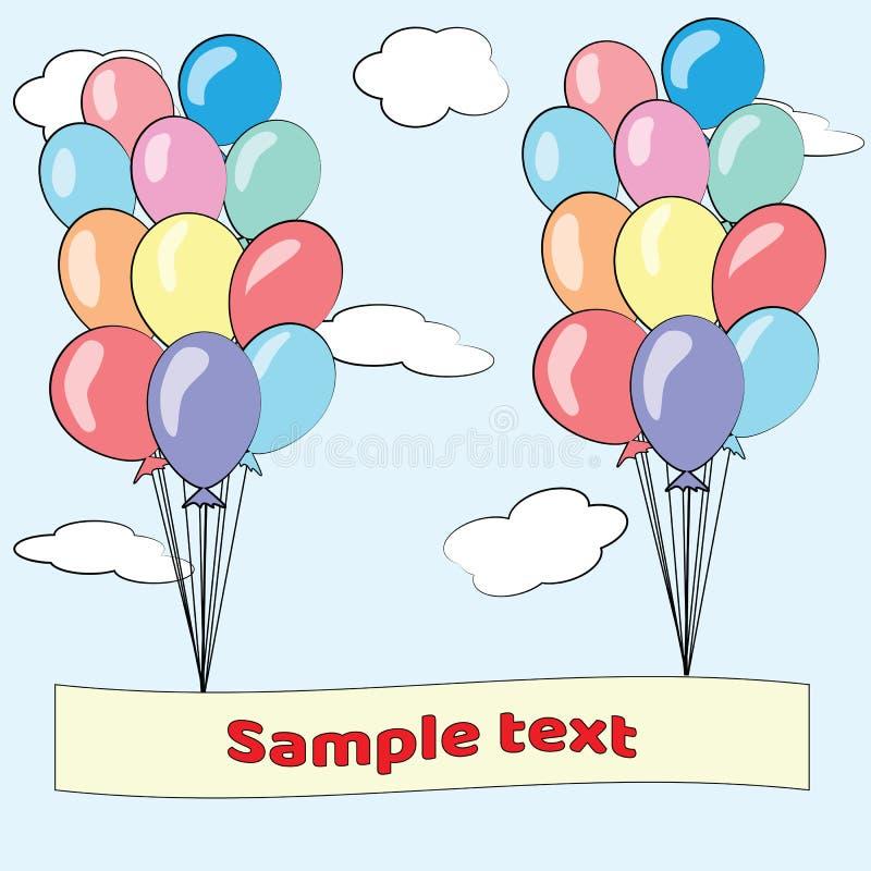 Tarjeta del feliz cumpleaños con los globos imágenes de archivo libres de regalías