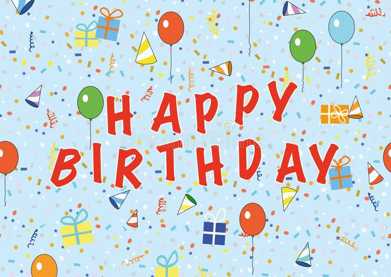 Tarjeta del feliz cumpleaños con los globos y confeti - ejemplo para la fiesta de cumpleaños de los niños stock de ilustración
