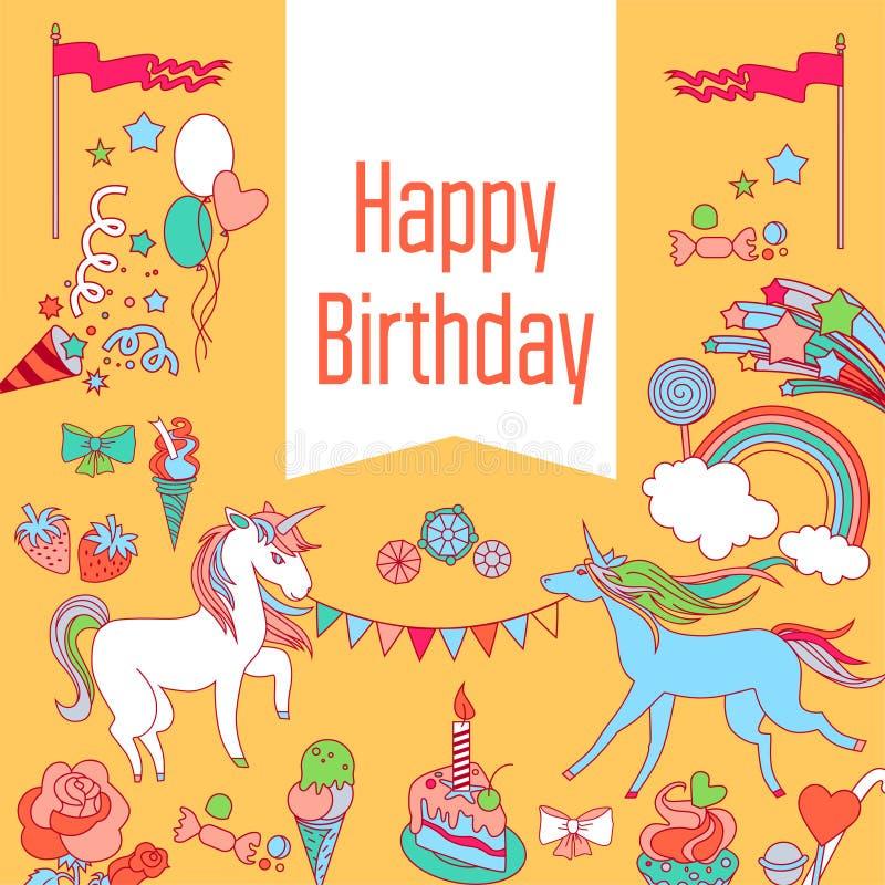 Tarjeta del feliz cumpleaños con unicornio, la fresa, la torta, los dulces, el arco iris y los baloons stock de ilustración