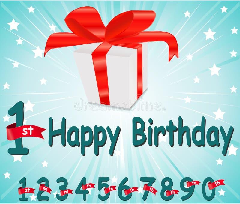 tarjeta del feliz cumpleaños de 1 año con el regalo y el fondo colorido en el vector EPS10 ilustración del vector