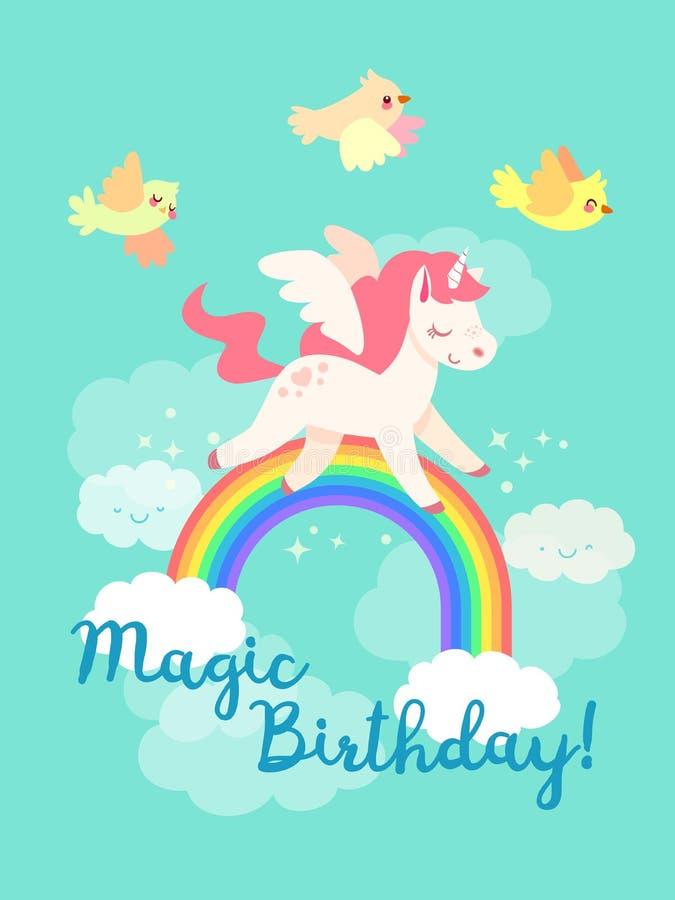 Tarjeta del feliz cumpleaños del cuento de hadas con unicornio del vuelo en vector fotos de archivo
