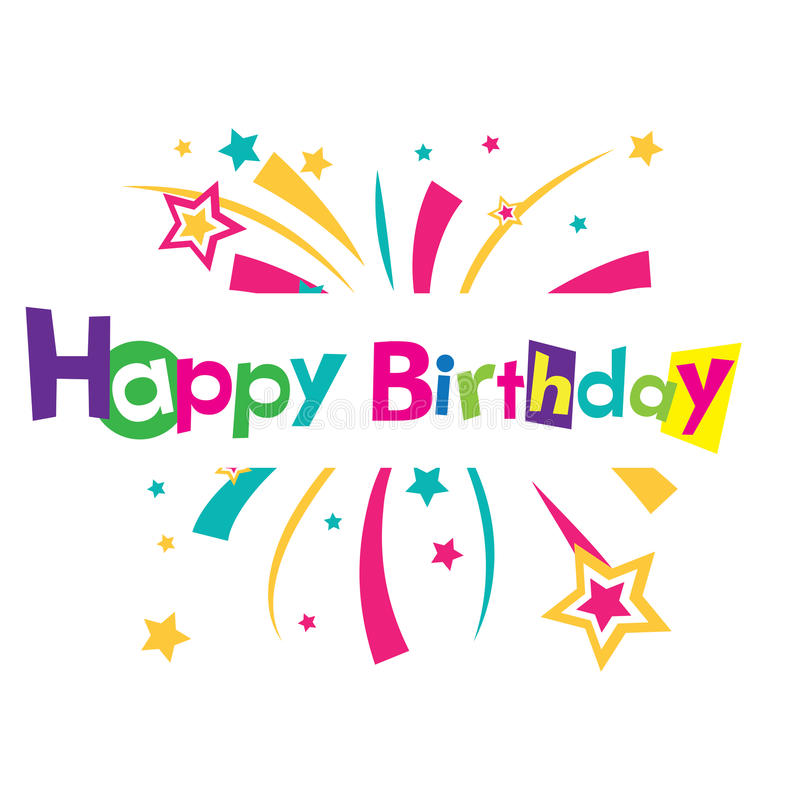 Tarjeta del feliz cumpleaños del vector stock de ilustración