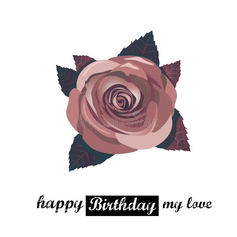 Tarjeta del feliz cumpleaños del vector con las flores rojas. libre illustration