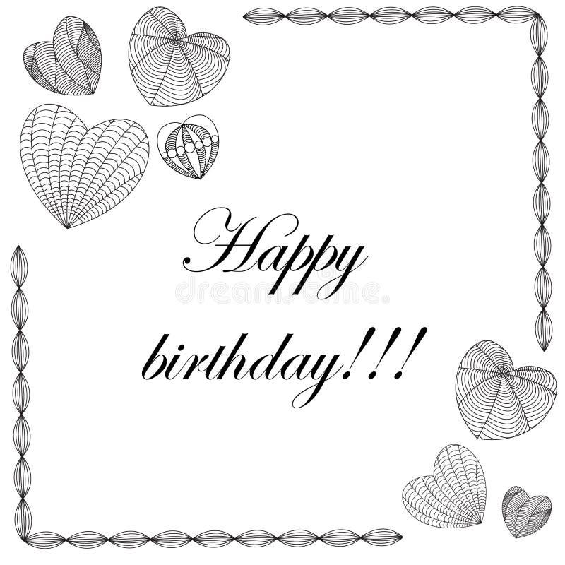 Tarjeta del feliz cumpleaños en el estilo del zenart, corazones en el fondo blanco libre illustration