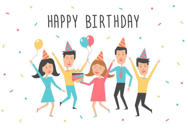 Tarjeta del feliz cumpleaños Fiesta de cumpleaños con la gente joven feliz libre illustration