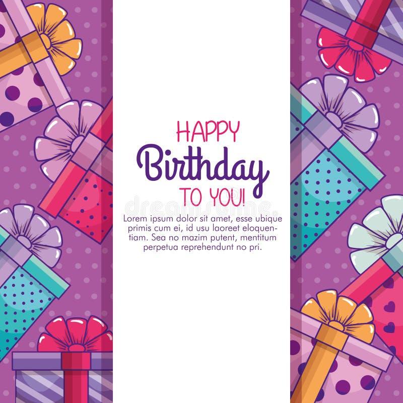 Tarjeta del feliz cumpleaños a la decoración de los regalos de los presentes libre illustration