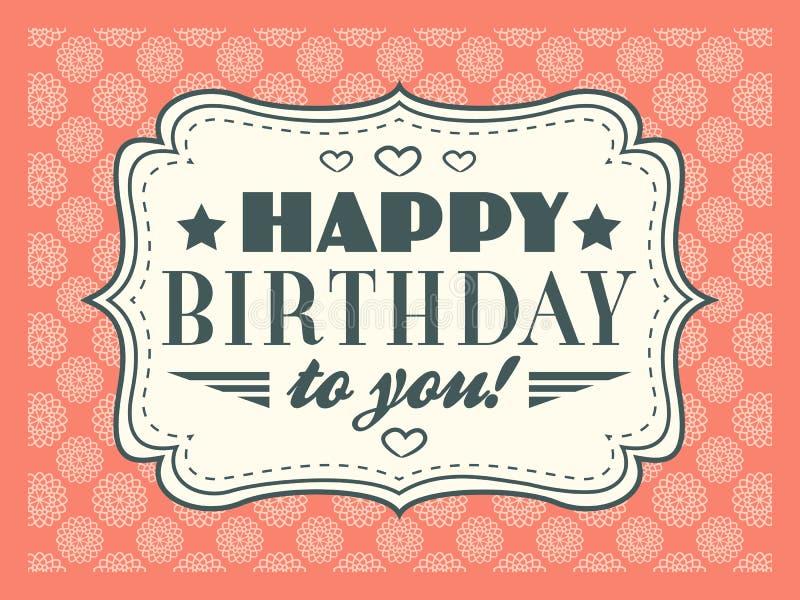 Tarjeta del feliz cumpleaños La tipografía pone letras al tipo de la fuente ilustración del vector