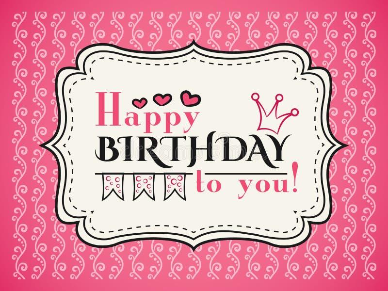 Tarjeta del feliz cumpleaños La tipografía pone letras al tipo de la fuente stock de ilustración
