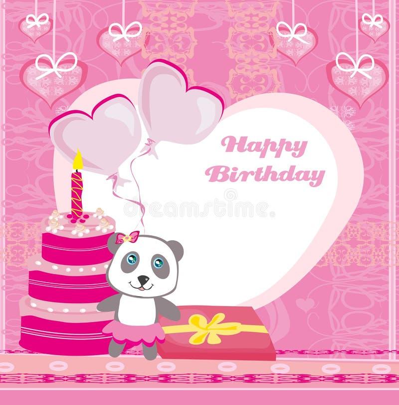 Tarjeta del feliz cumpleaños - panda linda con los globos, la torta y el regalo stock de ilustración