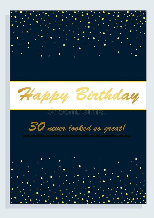 Tarjeta del feliz cumpleaños, para el trigésimo cumpleaños fotos de archivo libres de regalías