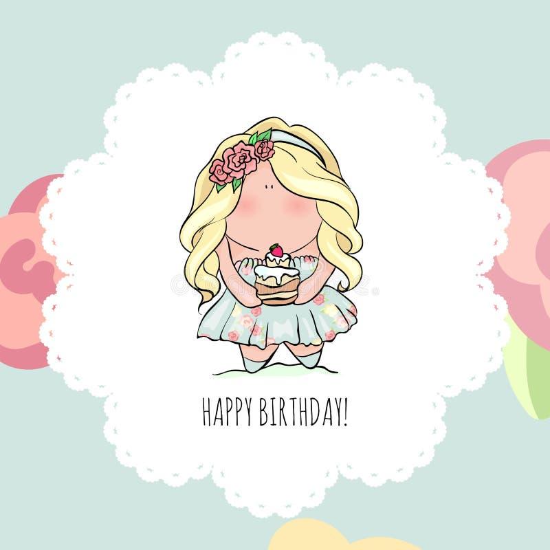 Tarjeta del feliz cumpleaños para la muchacha Niña linda doodle stock de ilustración