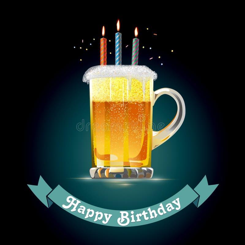 Tarjeta del feliz cumpleaños para una persona que ama la cerveza stock de ilustración