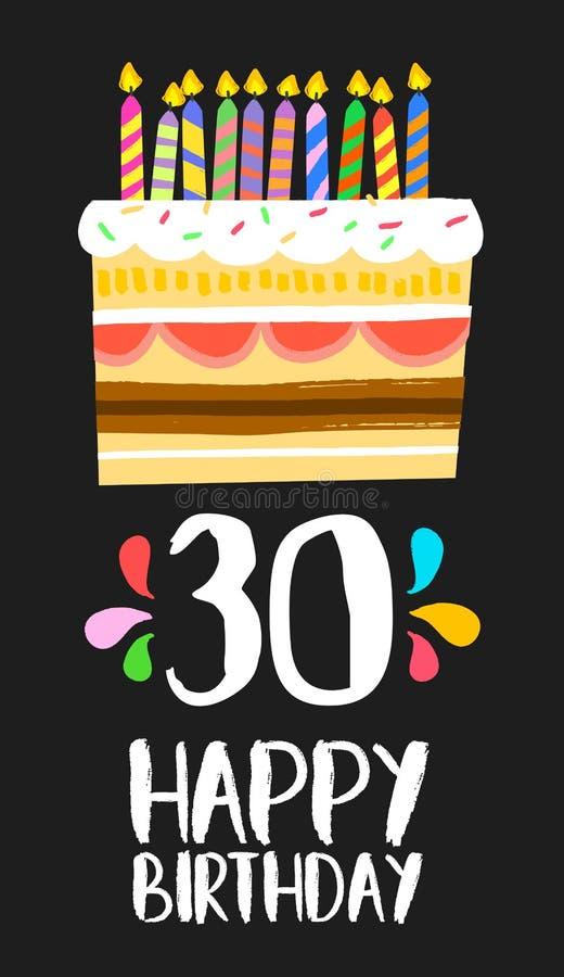 Tarjeta 30 del feliz cumpleaños torta de treinta años ilustración del vector