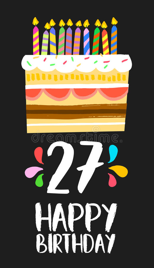 Tarjeta 27 del feliz cumpleaños veintisiete tortas del año stock de ilustración