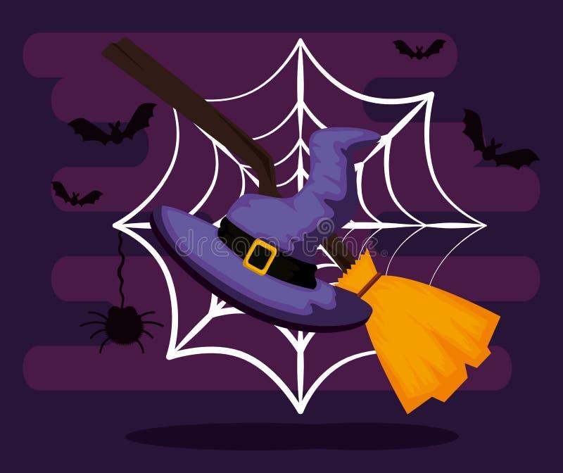 Tarjeta del feliz Halloween con el sombrero y la escoba de la bruja ilustración del vector