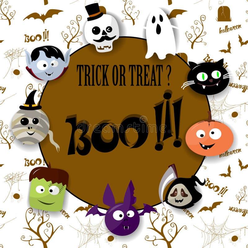 Tarjeta del feliz Halloween con el vampiro, la momia, el cráneo, el palo, la calabaza y el zombi stock de ilustración