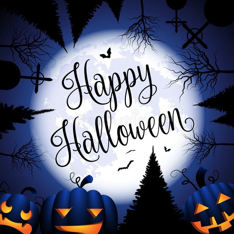 Tarjeta del feliz Halloween con la luna y los árboles de las calabazas stock de ilustración