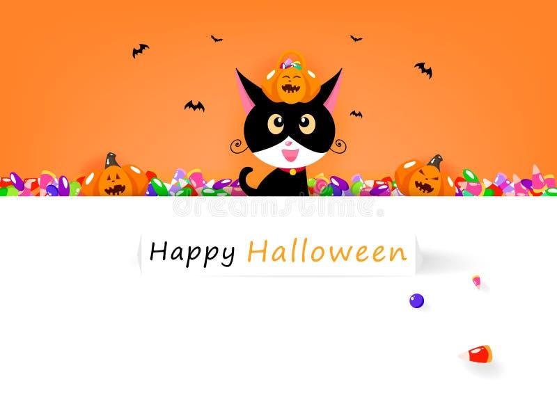Tarjeta del feliz Halloween, gato y caramelo dulce con la calabaza linda, vacaciones de la celebración, cartel de la invitación d stock de ilustración