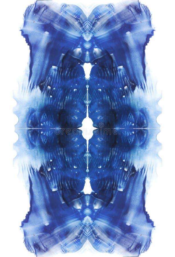 Tarjeta del fondo vertical simétrico de la abstracción de la prueba de la mancha de tinta del rorschach Imagen azul de la acuarel libre illustration