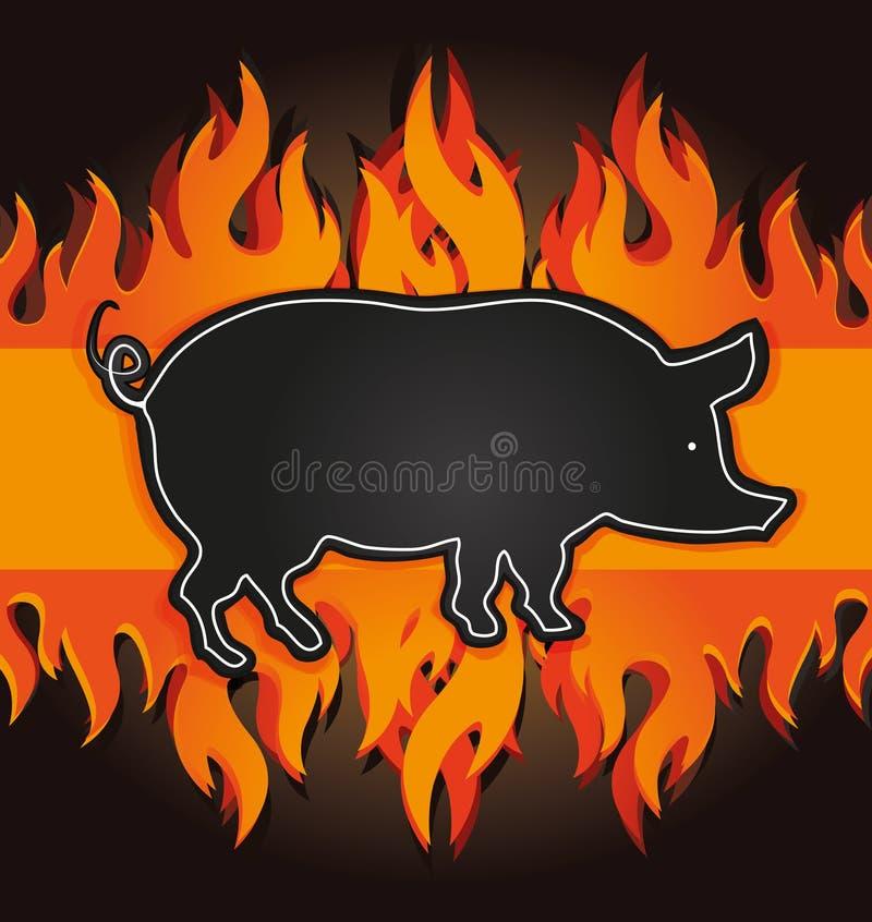 tarjeta del fuego del cerdo de la tarjeta del menú de la parrilla de la pizarra ilustración del vector