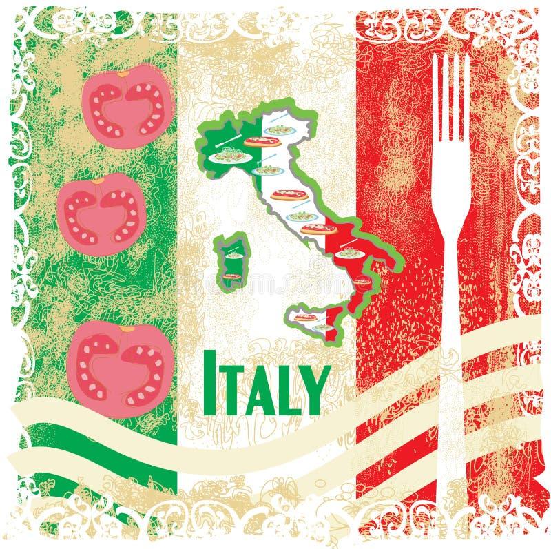 Tarjeta del grunge del viaje de Italia con la comida italiana nacional stock de ilustración