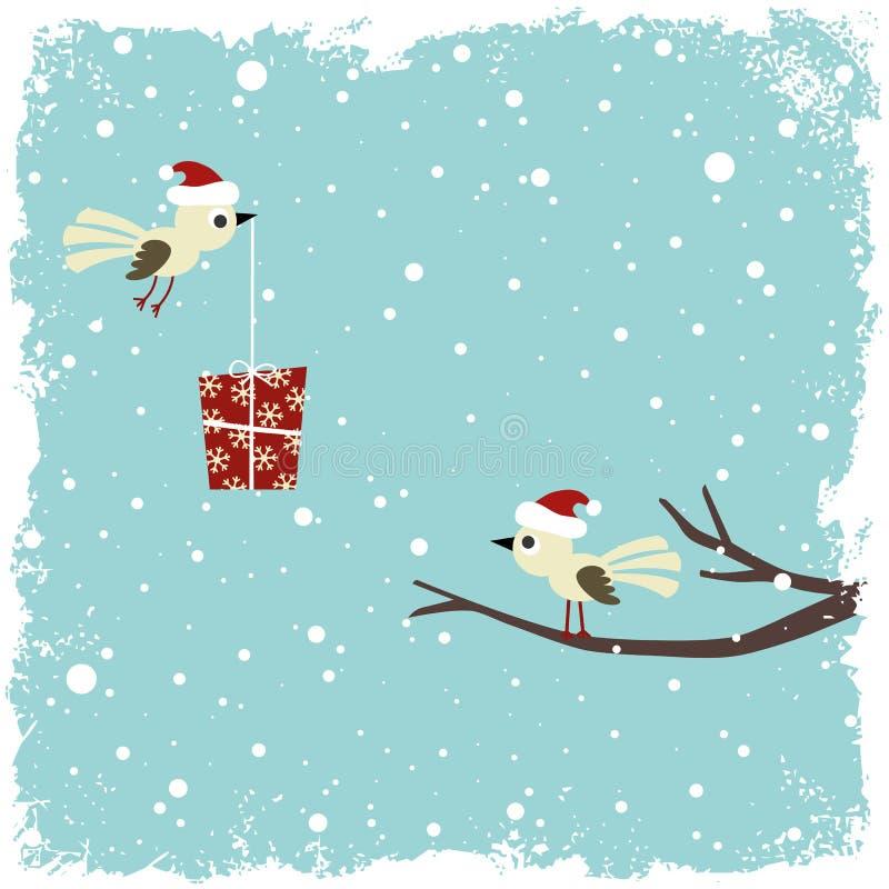 Tarjeta del invierno con los pájaros stock de ilustración