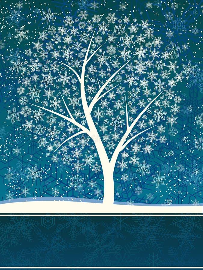 Tarjeta del invierno de nevadas con el árbol de la nieve. ilustración del vector